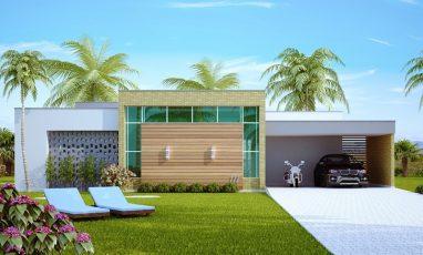 Fachada de casa moderna com 2 garagens e 2 semi-suites