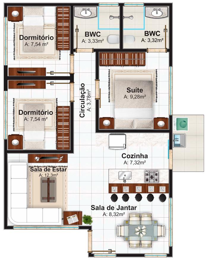 Casa santo andre pequena com 3 quartos e suite for Piso 60 metros cuadrados 3 habitaciones