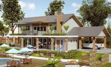 Vista de planta de casa lateral com 4 quartos e piscina