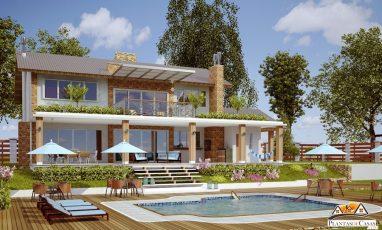 Planta de casa para campo com piscina