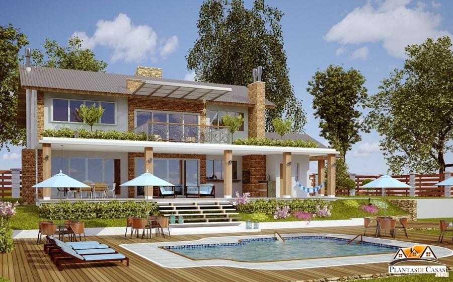 Casa jurere para terreno de praia ou campo com 4 quartos for Modelos de casas de campo modernas