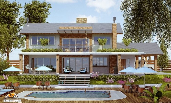 Planta de casa de praia ou campo com 4 quartos