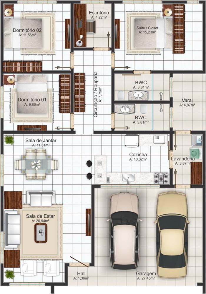 Planta de casa com 3 quartos e garagem - São bernardo
