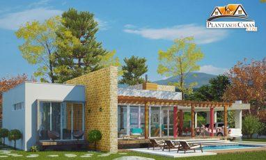 Planta de casa térrea com piscina e 3 quartos