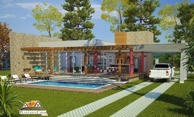 Planta de casa térrea de campo ou praia com piscina