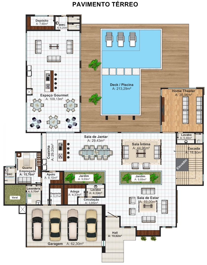 Casa luanda projeto moderno com 5 suites e 4 vagas de for Casa planta ramallosa