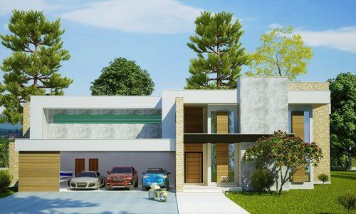 Projeto de casa moderno com piscina, 4 suítes e 4 vagas de garagem