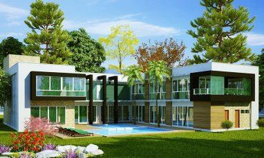 Fundos de planta de casa com 4 quartos e piscina
