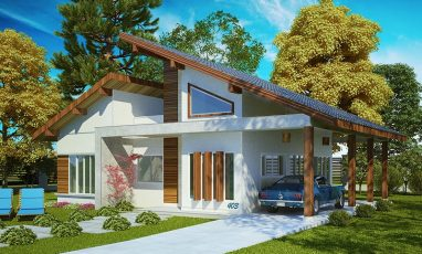 Planta de casas com 1 suíte e 2 vagas de garagem