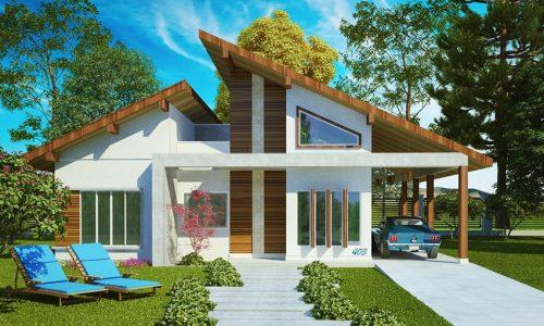 Projeto de casa com 1 suíte, 3 quartos e 2 vagas de garagem
