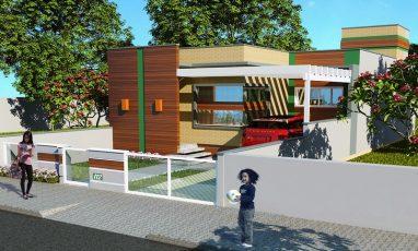 Planta de casa moderna para terreno estreito