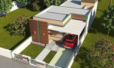 Vista aérea de planta de casa com 3 quartos para terreno estreito
