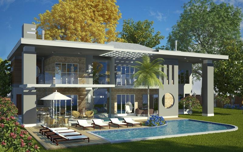 Sobrado olinda casa moderna com 4 quartos sendo 2 for Plantas de casas modernas con piscina