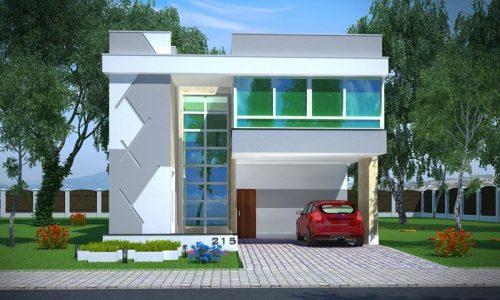 Planta de casa moderna com 2 suítes, 1 quarto, 2 garagens e piscina