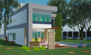 Lateral de sobrado com 3 quartos, 2 garagens e piscina
