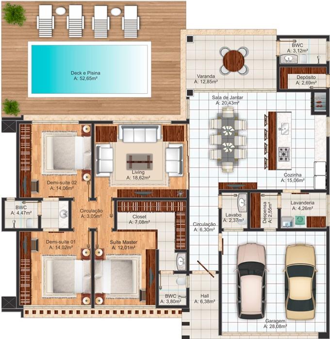 planta de casa com 3 suites e closet