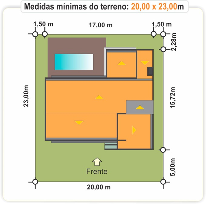 terreno - planta de casa com 3 suites e closet