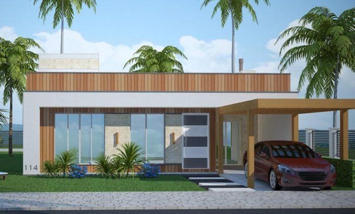 Planta de casa com 4 quartos, garagem e espaço gourmet