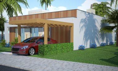 Vista direita de projeto de casa com 4 quartos e espaço gourmet