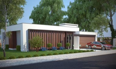 Vista lateral de planta de casa com 3 quartos e piscina