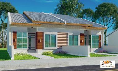 Visão lateral de planta de casa pequena para terreno estreito