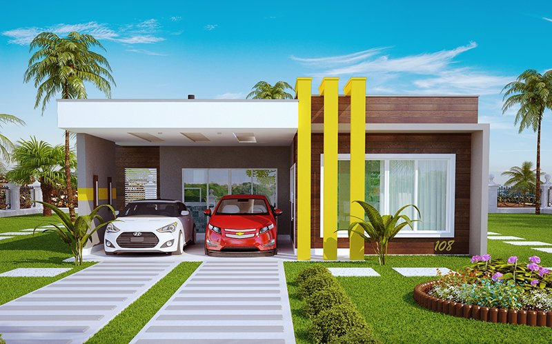 Projeto de casa teresina linda casa t rrea com 1 su te e for Casas minimalistas baratas