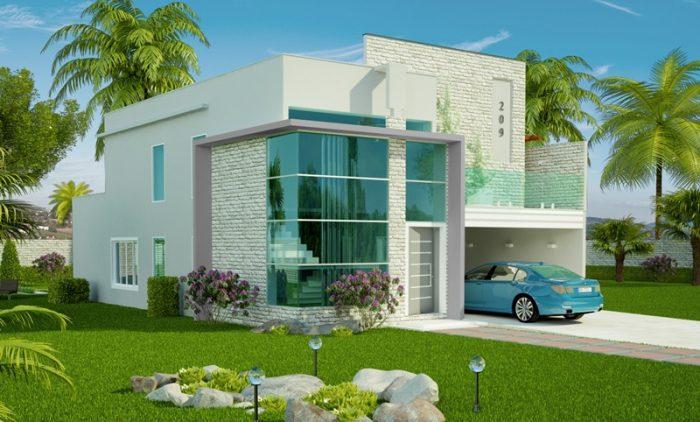 Planta de casa com 2 vagas de garagem, 1 suíte e 2 quartos