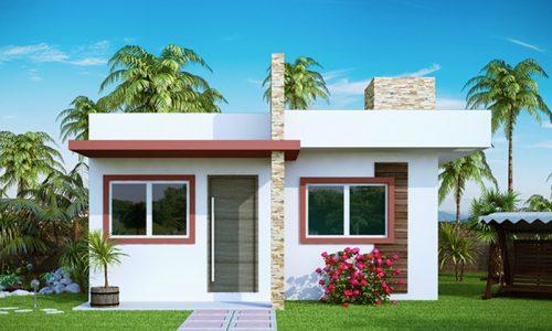 Projeto de Casa Pequena com 2 Quartos e varanda