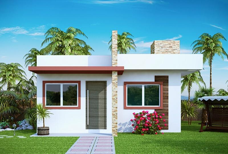 Projeto de casa pequena com 2 quartos e varanda plantas - Imagenes de fachadas de casas pequenas de un piso ...