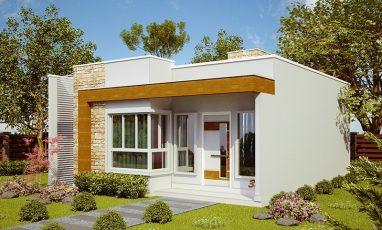Projeto de casa pequena e moderna com 2 quartos e 1 suíte