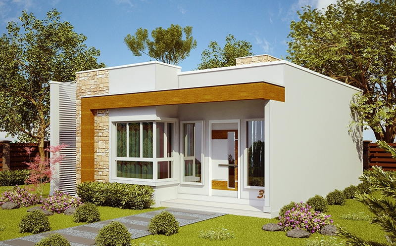 Planta de casa natal casa pequena e moderna com 2 quartos for Modelos de casas de una sola planta