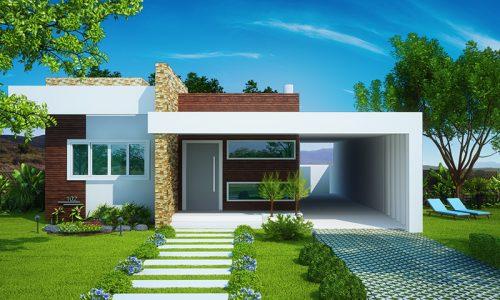Planta de casas com Fachada moderna com 2 quartos e 1 suíte