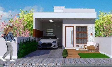 Fachada frontal de planta de casa com 2 quartos e garagem