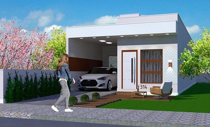 Projeto de casa pequena para terreno estreito