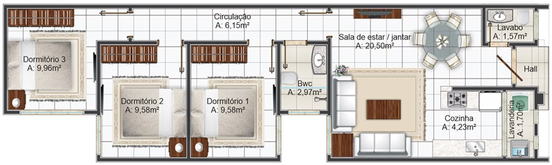 Projetos de Casas - Plantas baixa humanizada - 313