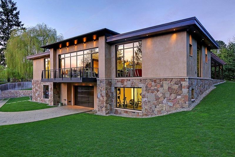 casa moderna com garagem de carrões de luxo