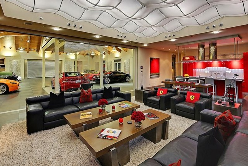 sala de estar na garagem