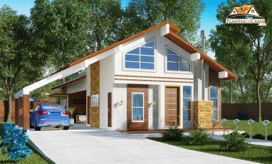 Planta de casa de campo moderna com piscina e 3 quartos
