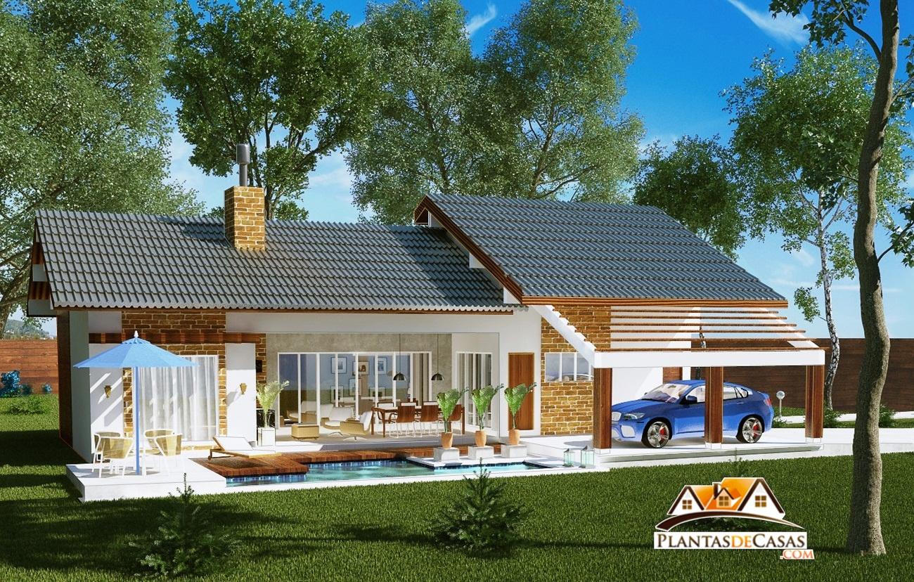 Casa de campo goi s com 3 quartos e espa o gourmet com for Modelos de casas de campo con piscina