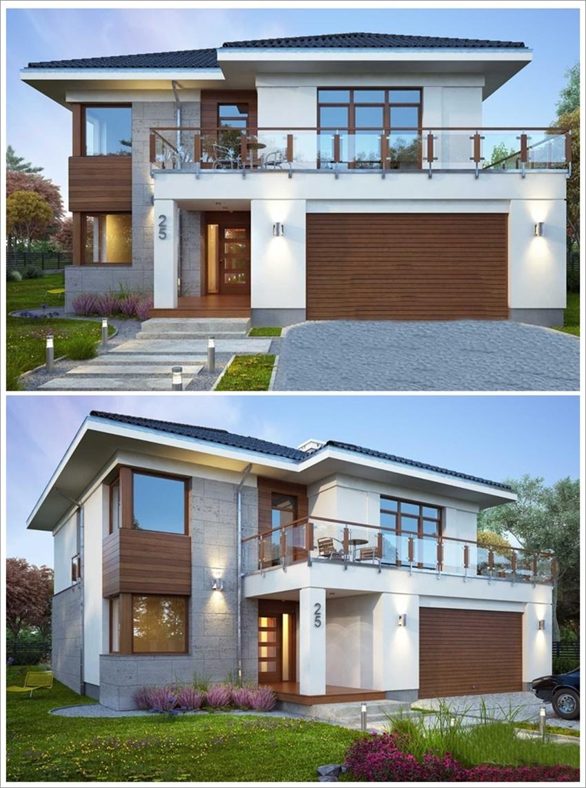42 modelos de fachadas de casas para voc se inspirar for Casa moderna 7x15