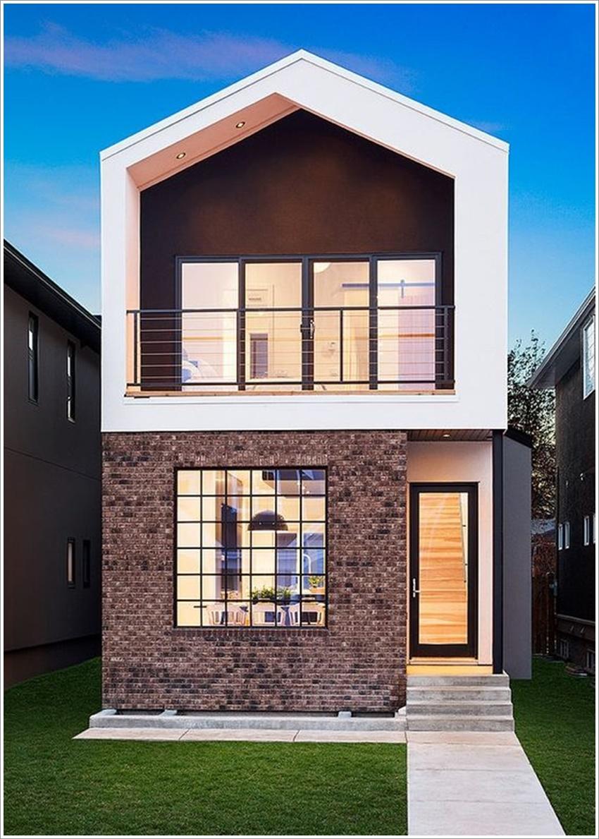 42 modelos de fachadas de casas para voc se inspirar for Casas largas y angostas
