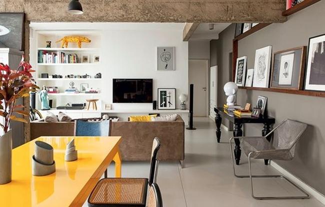 piso porcelanato em sala de estar