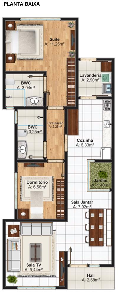 Casa pequena - Planta baixa casa Piracicaba