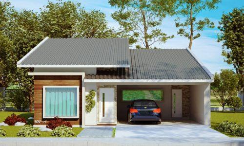 Projeto de casa com 1 suíte, 2 quartos e 2 vagas de garagem