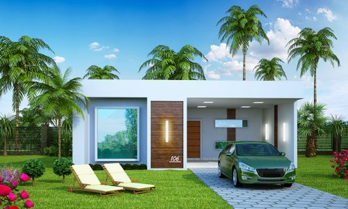 Planta de casa com 3 quartos, cozinha gourmet, piscina e deck