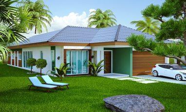 Planta de casa com 2 demi-suítes e piscina