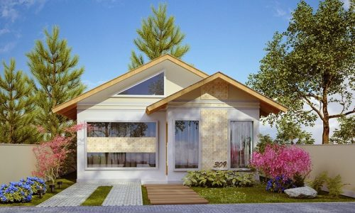 Planta de casa térrea e pequena, 1 suíte e 2 quartos