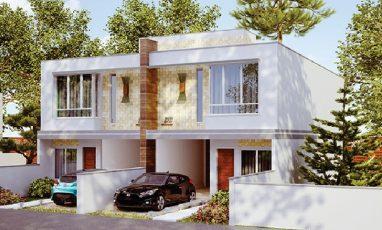 Vista lateral de sobrado geminado com 3 quartos e garagem