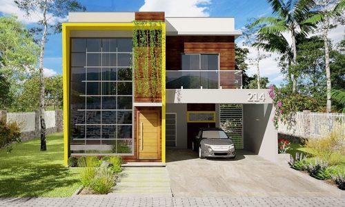 Sobrado moderno com 3 quartos e 2 garagens