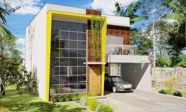 Planta de casa moderna com 3 quartos e 2 garagens